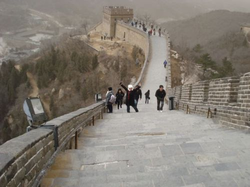 Making my way up the Great Wall of China... Yep, I'm wearing a rabbit hat.